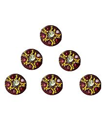 Maroon with Golden Designer Round Bindis