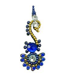 Blue with White Stone Swan Bindi