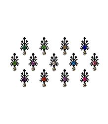 13 Multicolor Stone Bindis on Black Felt