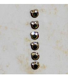6 White Stone Bindis on Black Felt