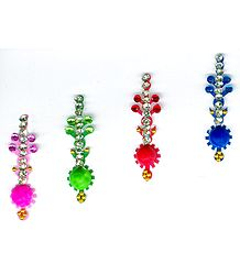 Designer Multicolor Bindis with  Multicolor and White Stones
