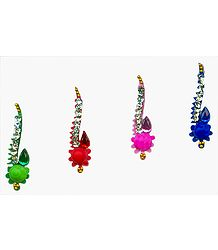 Designer Multicolor Bindis with  White Stones