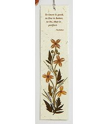 Dried Flowers Pasted on Handmade Paper - Bookmark