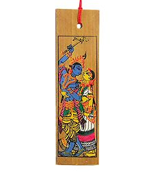 Radha Krishna - Patta Painting on Palm Leaf Bookmark