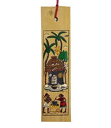 Village Scene - Painting on Palm Leaf