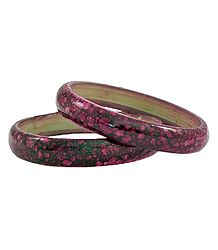 Pair of Dark Pink with Black Printed  Acrylic Bangles
