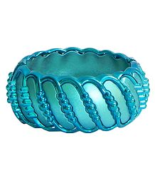 Cyan Acrylic Hinged Bracelet