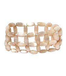 Beige Acrylic Bead Stretch Bracelet