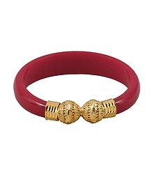 Buy Gold Plated Acrylic Red Bangle