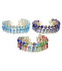 Set of 3 Cyan Blue, Purple and Multicolor Acrylic Crystal Bead Cuff Bracelet