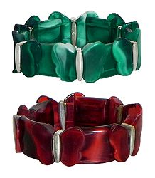 Set of 2 Red & Green Stretchable Acrylic Link Bracelet