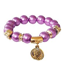 Mauve Beaded Stretch Charm Bracelet