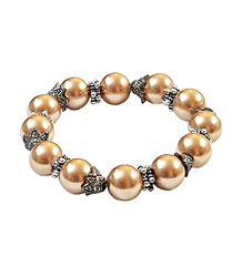 Light Copper Beaded Stretch Bracelet
