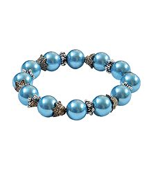 Blue Beaded Stretch Bracelet