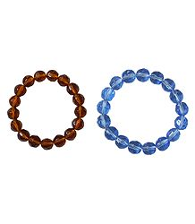Set of 2 Brown and Blue Acrylic Beaded Stretch Bracelet