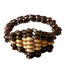 Brown and Cream Wooden Bead Stretch Bracelet