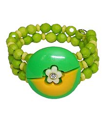 Green and Yellow Beaded Adjustable Bracelet