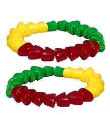 Pair of Red, Green and Yellow Beaded Stretch Bracelet