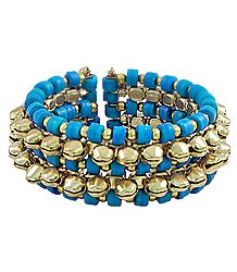 Metal Ghunghroo and Blue Bead Cuff Bracelet