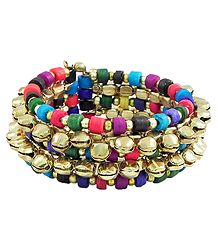 Metal Ghunghroo and Multicolor Bead Cuff Bracelet