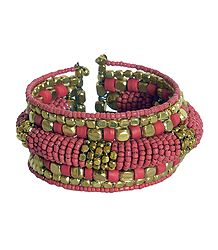Metal and Synthetic Bead Cuff Bracelet
