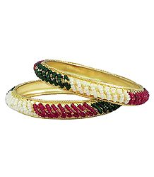 Pair of Beaded Metal Bangles