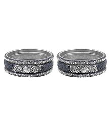 Set of 2 White Stone Studded Metal Bangles