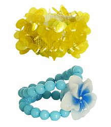 Set of 2 Yellow Sequin and Blue Beaded Stretch Bracelet