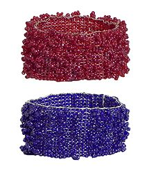 Set of 2 Red & Purple Beaded Stretch Bracelet