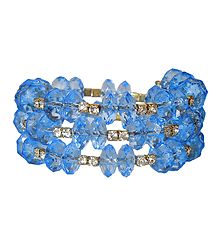 Blue Bead and White Stone  Studded Spiral Bracelet