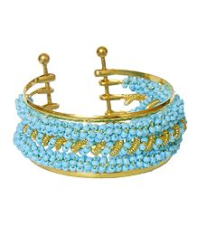 Light Blue Beaded Cuff Bracelet