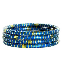 Blue Lac Bangles with Foil Paper