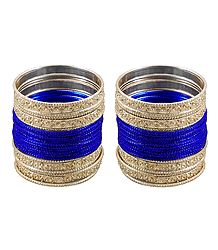 2 Sets of Blue Metal Bangles