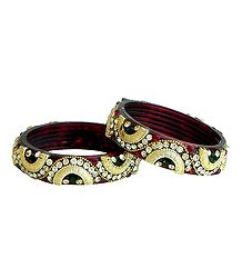 Pair of Stone Studded Acrylic Maroon Bangles