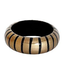 Black Stripe on Beige Wood Bracelet