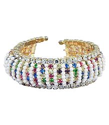 Stone Studded and White Beaded Cuff Bracelet