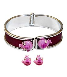 Metal Hinge Bracelet with Stud Earrings