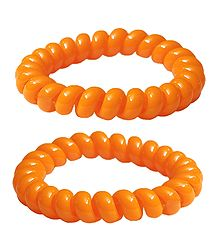 Pair of Acrylic Saffron Stretch Bracelet