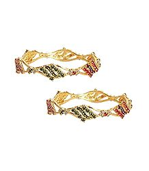 Set of 2 Stone Studded Bangles