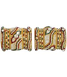 Set of 2 White, Red and Green Stone Studded Golden Yellow Bangles