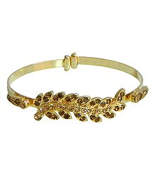 Faux Citrine Studded Metal Cuff Bracelet