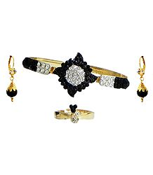 Black and White Stone Studded Cuff Bracelet, Earrings and Adjustable Ring