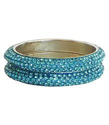 Pair of Cyan Stone Studded Bangles