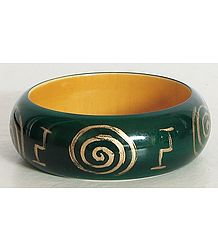 Dark Green with Golden Painted Bangle Bracelet