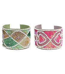 Leather Cuff Bracelet with Pink and Green Sequin with White Beads