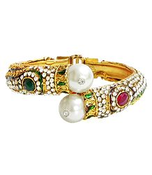 Faux Zirconia, Garnet and Emerald Studded Hinged Bracelet