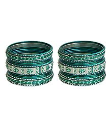 Set of 2 Stone Studded Glitter Metal Bangles