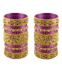2 Sets of Golden Glitter Bangles with Magenta Churis