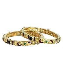 Pair of Stone Studded and Gold Plated Meenakari Bangles