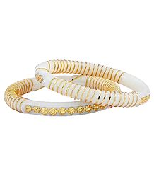 Pair of Gold Plated White Acrylic Shankha